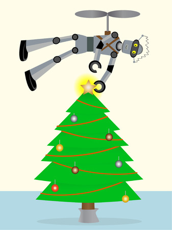 tin: Hovering over Christmas Tree Robot places stars