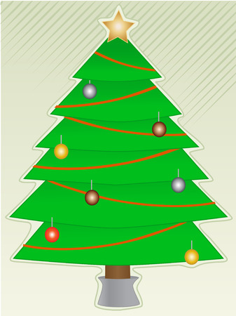 Christmas Tree with light decorations with abstract background
