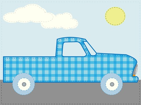 Craft patchwork blue cartoon truck on road sunny day vector Vector