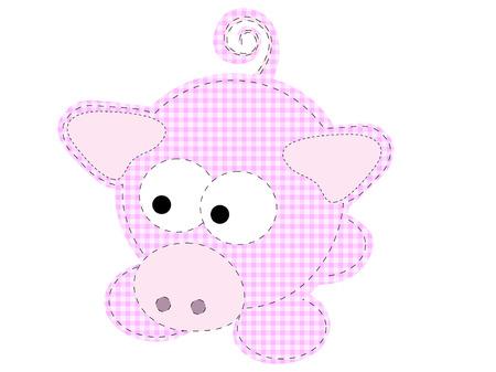 Patchwork Craft Piggy Cartoon cochon Vector  Banque d'images - 6023711