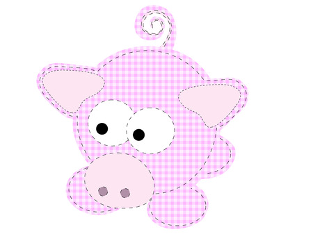 white patches: Patchwork Piggy Craft Cartoon Pig Vector