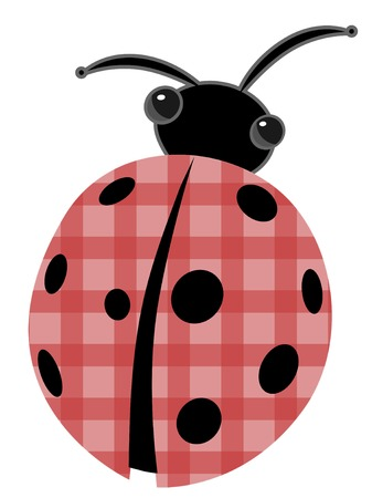 white patches: Ladybug with patchwork red shell vector cartoon
