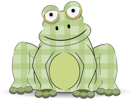 グリーン漫画パッチワーク クラフト カエルのように座っています。  イラスト・ベクター素材