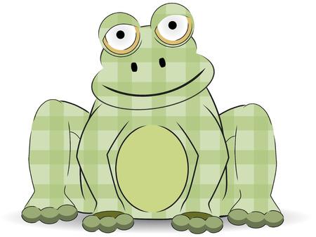 개구리처럼 녹색 만화 패치 워크 공예품 앉는 다.