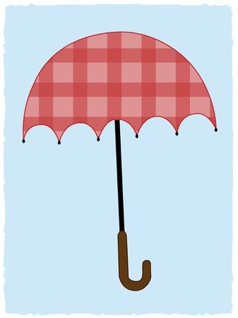 Patchwork tartan Red Umbrella on light blue background Иллюстрация