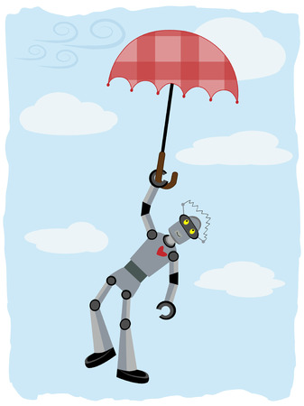 breezy: Floating in the sky umbrella carries robot through breezy day Illustration