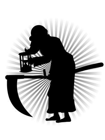 Vieux père temps Silhouette vecteur Cartoon Banque d'images - 6129118