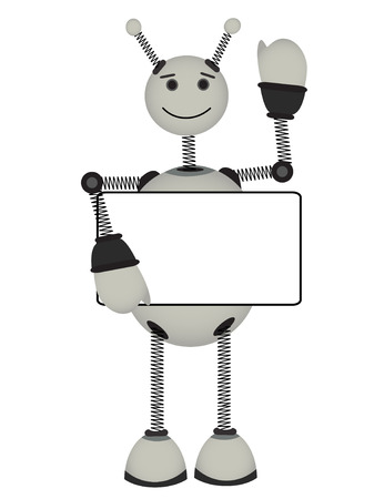 Gray Robot holds blank advertisement sign smiles and waves