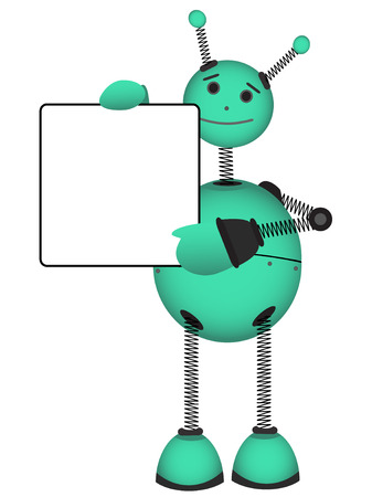 Robot holding blank advertisement sign vector illustration