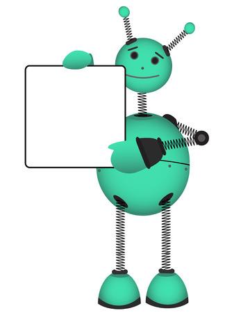 blue smiling: Robot holding blank advertisement sign vector illustration