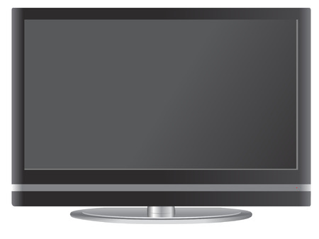 Flat screen television with stand illustration Stock Vector - 6159349