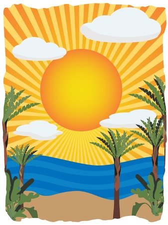 Sunny bright tropical illustration background Stock Vector - 6159350
