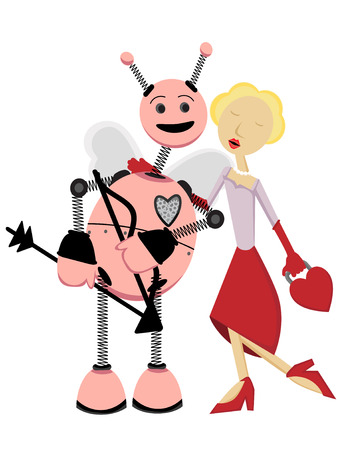 Cupid Robot receiving kiss from woman Stock Vector - 6169552