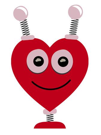 Smiling Heart Shaped Robot Head Cartoon Illustration Vector