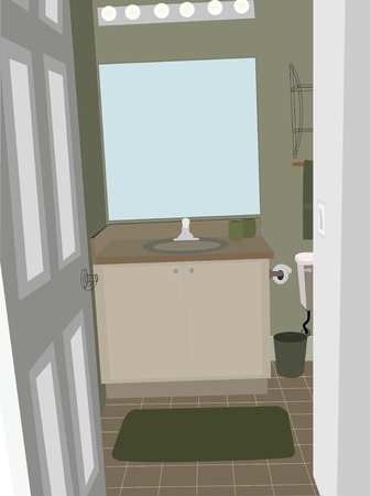 Bathroom at an angle with stylized accent objects Vector