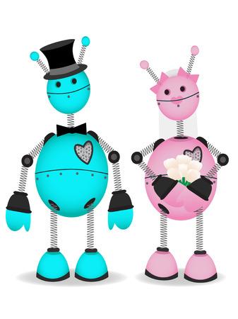 Robot Bride and Groom stand together vector cartoon Illustration