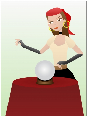 Fortune teller gypsy standing over crystal ball