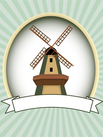 holland windmill: Blank green oval windmill product label vector