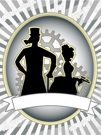 gasmask: Steampunk product label male and woman with gears abstract  Illustration