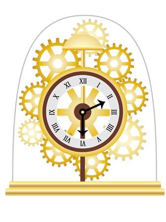 Skeleton Clock Golden Multiple Gears  Illustration Vector