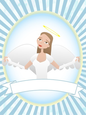 Female Angel inside oval banner advertisement setting Vector