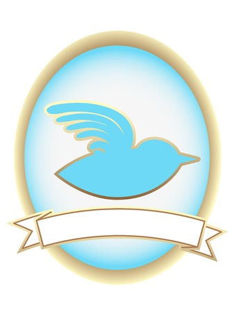 Blue Bird Abstract Oval Banner mascot  Vector