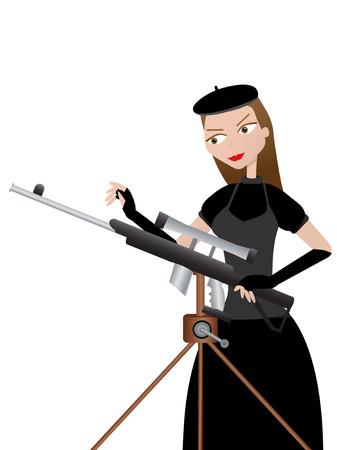Female sharpshooter preparing gun sitting on tripod