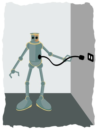 plugging: Robot plugging into wall socket