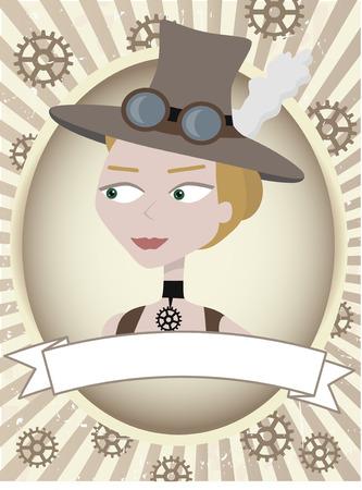 steampunk goggles: Etiqueta de producto de mujer steampunk marchas y gafas  Vectores