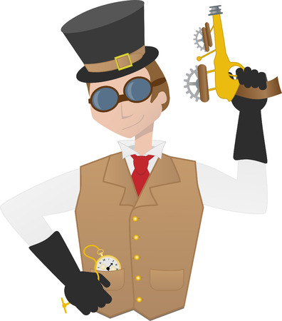 ray gun: Steampunk man holding ray gun gear and goggles victorian cartoon guy