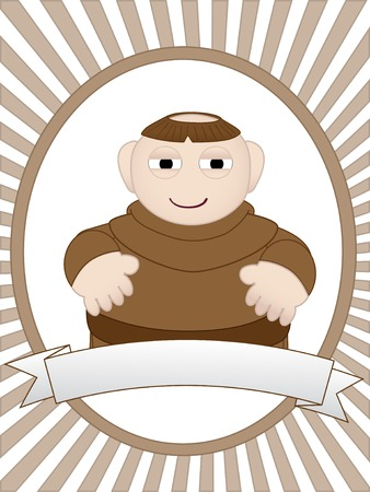 monk: Over weight monk in traditional robes standing inside oval ray advertisement  Illustration