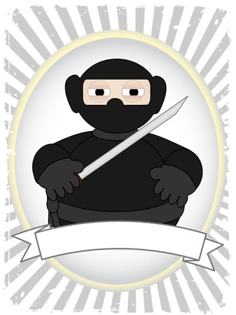 Cartoon Fat Ninja in grunge ray advertisement setting Stock Vector - 6584933