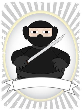 Cartoon Fat Ninja in grunge ray advertisement setting Vector
