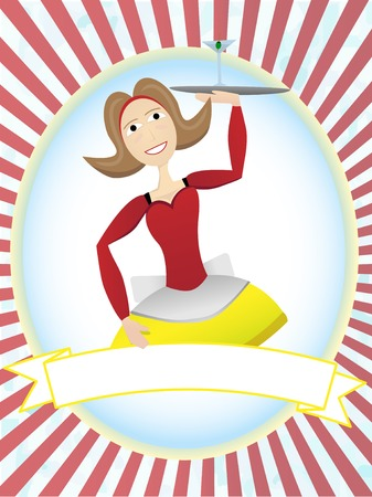 Smiling Cartoon Waitress carrying cocktail in bright oval ray ad setting Vector