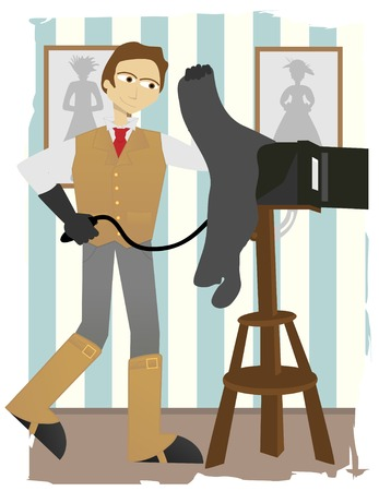 Photographer taking picture on old fashion box camera in studio Vector