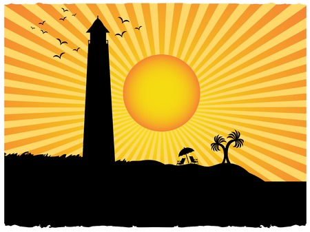 Silhouetted tranquil coastal scene, lighthouse, chairs, umbrella and twin palm trees surrounded by beams of sunny rays accented by grunge Stock Vector - 6689478