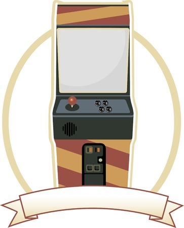 Video Arcade Cabinet Oval Badge Ilustrace