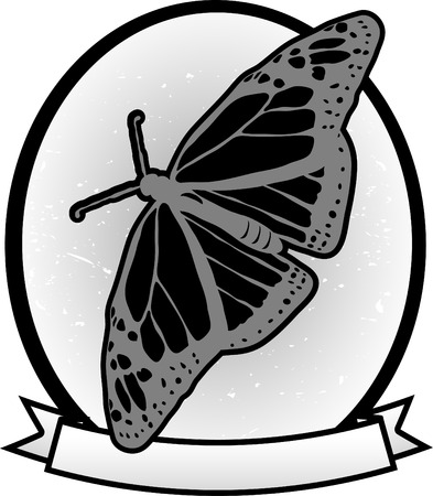 Grayscale butterfly cartoon oval blank text banner