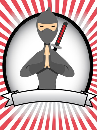 Cartoon Ninja ovale Banner Ad Stock Illustratie