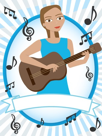 Cartoon girl playing acoustic guitar surrounded by musical notes Illustration