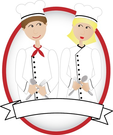 Cartoon Chefs smiling at each other in oval banner