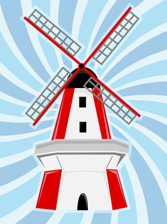 spinning windmill: Red White Windmill Blue Swirl Background