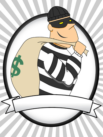 Portrait of Burglar holding bag of money and flashlight oval banner rays Vector