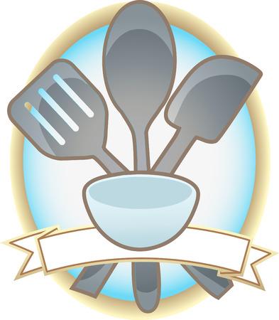 Baking Utensils Oval Blank Banner Illustration