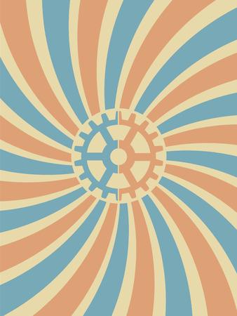 Gear Swirl Red Blue Background Illustration