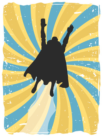 Superhero silhouette flies up through swirl grunge  Vector