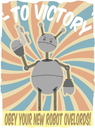 faux: World War II poster simulato Robot Invasion  Vettoriali
