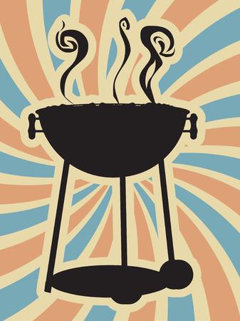 barbecue grill: BBQ Silouette Swirl Blue Red