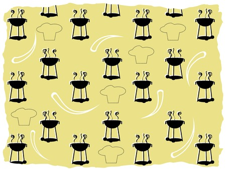 Abstract BBQ cooking pattern silhouette chef outline Vector