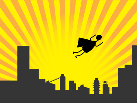 city man: Stick figure superhero flies past bright sun burst